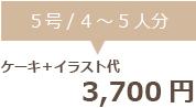 生クリームデコレーション5号+イラスト代 3700円