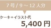 生クリームデコレーション7号+イラスト代 5400円