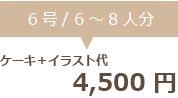 生クリームデコレーション6号+イラスト代 4500円